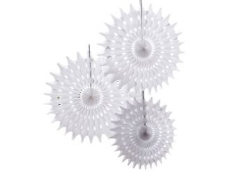 Beautiful Botanics White Tissue Fan Decorations