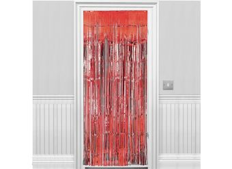 Red Metallic Fringed Door Curtain - 2.4m