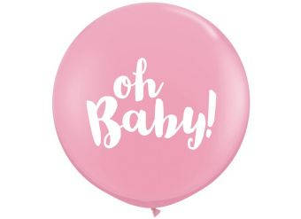 "Pink Oh Baby Giant Balloon - 36"" Latex"