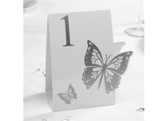 Elegant Butterfly White/Silver Wedding Table Numbers