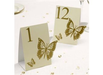 Elegant Butterfly Ivory/Gold Wedding Table Numbers