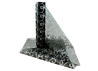 Black & Silver Swirl Organza Sheer Roll - 10m