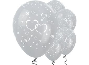 """Satin Silver Entwined Hearts Balloons - 12"""" Latex"""