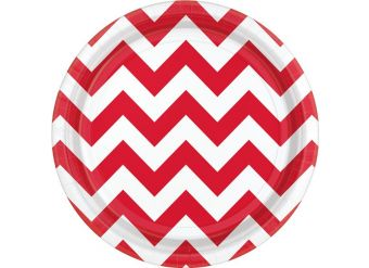 Red Chevron Dessert Plates - 18cm Paper Party Plates