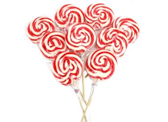 Red & White Swirl Lollipops - Strawberry 10cm