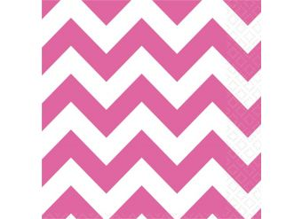 Hot Pink Chevron Napkins - 33cm