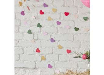 Boho Wedding Heart Card String Garland - 5m