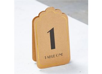 Kraft & Gold Table Number Placecards 1-12