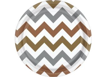 Metallic Chevron Dessert Plates - 18cm Paper Party Plates