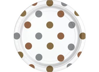 Metallic Polka Dot Plates - 23cm Paper Party Plates