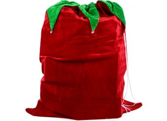 Velour Christmas Sack with Bells - 90cm