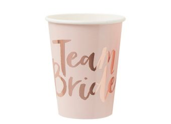 Team Bride Rose Gold Paper Cups - 255ml