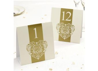Vintage Romance Ivory/Gold Wedding Table Numbers