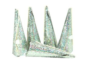Holographic Silver Cone Party Poppers