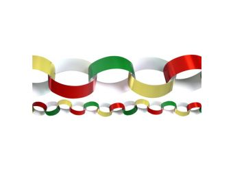 Red Green & Gold Paper Chains - 20cm strips