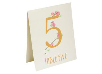 Ivory Flowers Table Number Placecards - 15.5cm