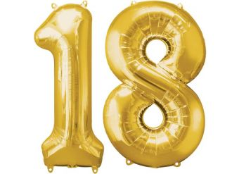 "Age 18 Gold Balloons - 34"" Foil"