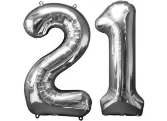 """Age 21 Silver Balloons - 34"""" Foil"""