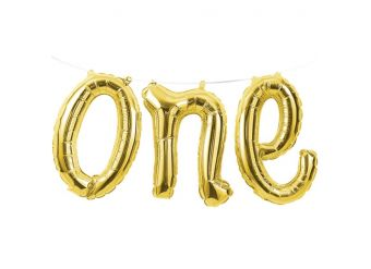 """Age One Gold Phrase Balloon Bunting - 12"""" Foil"""