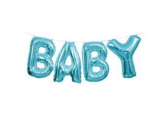 """Baby Blue Phrase Balloon Bunting - 14"""" Foil"""