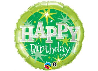 "Happy Birthday Green Sparkle Balloon - 18"" Foil"