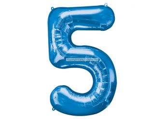 "Blue Number 5 Balloon - 34"" Foil"