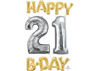 """'Happy 21st Birthday' Gold & Silver Foil Balloons - 26"""""""