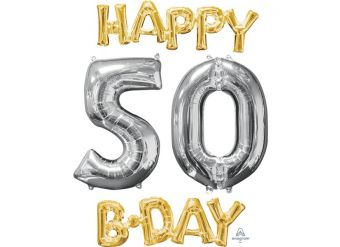 """'Happy 50th Birthday' Gold & Silver Foil Balloons - 26"""""""