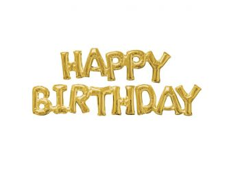Happy Birthday Gold Phrase Balloons -