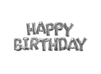 Happy Birthday Silver Phrase Balloons -