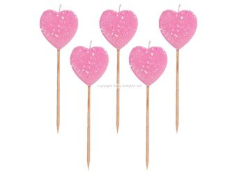 Pink Glitter Heart Pick Candles