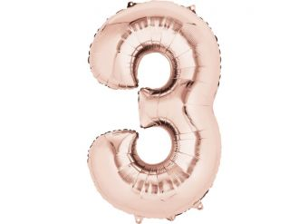 "Rose Gold Number 3 Balloon - 34"" Foil"