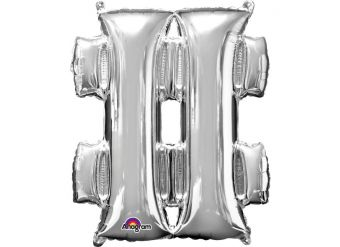 "Silver Hashtag Shaped Balloon - 34"" Foil"