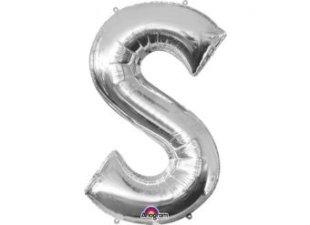"Silver Letter S Balloon - 34"" Foil"